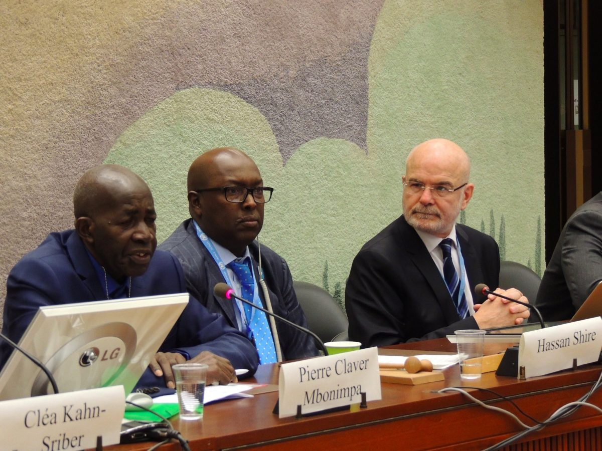 Renowned Burundian human rights defender Pierre Claver taking part in a side event on Burundi during the UN Human Rights Council session together with Hassan Shire from Defend Defenders and Michel Forst, UN Special Rapporteur on the situation of human rights defenders. Picture by DefendDefenders.