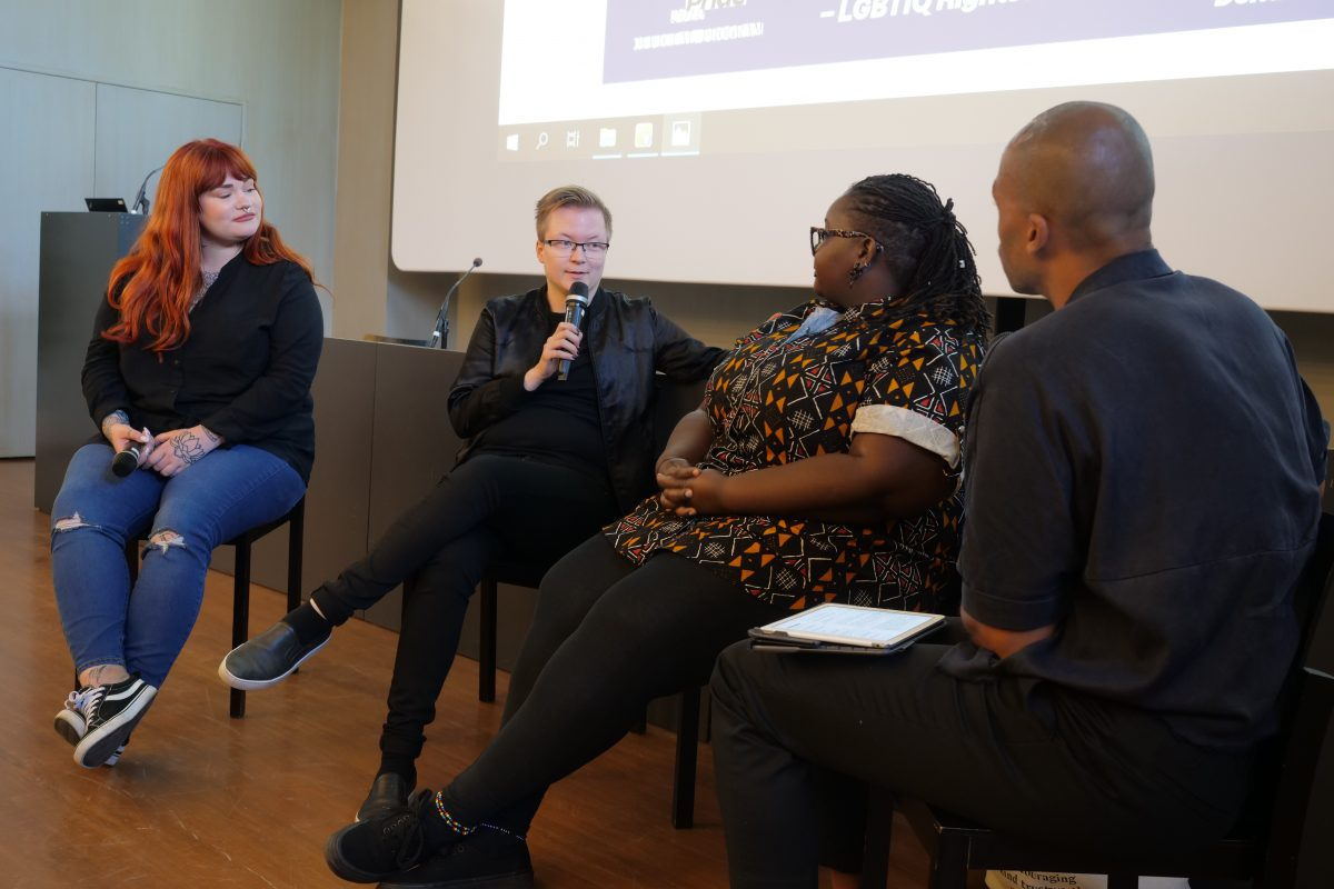 Annika Ojala and Sakris Kupila joined the panel in Helsinki Pride week