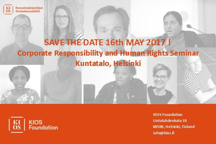 Corporate Responsibility and Human Rights seminar on 16th May