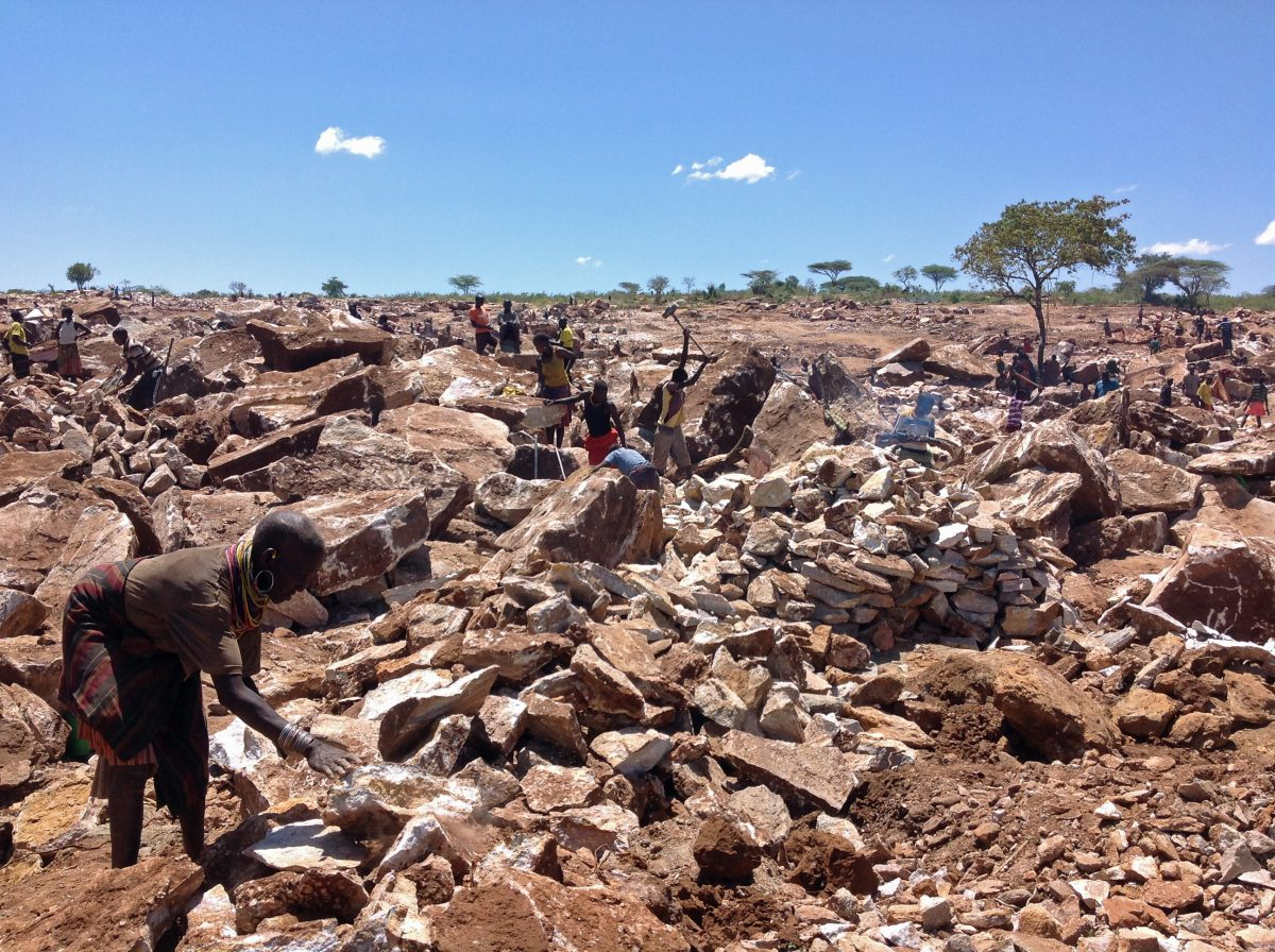 Community members working at the Tororo Cement mining site in Moroto district (Photo:  the Uganda Consortium on Corporate Accountability/ UCCA)